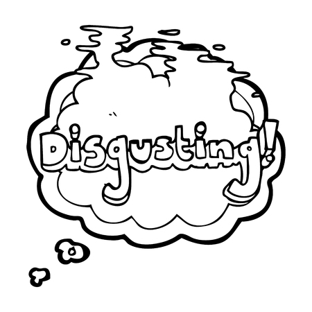 disgusting: disgusting freehand drawn thought bubble cartoon Illustration