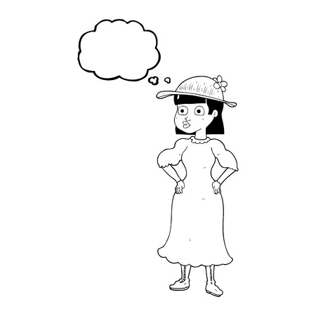 hem: freehand drawn thought bubble cartoon woman in sensible dress Illustration