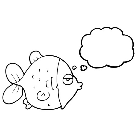 funny fish: freehand drawn thought bubble cartoon funny fish