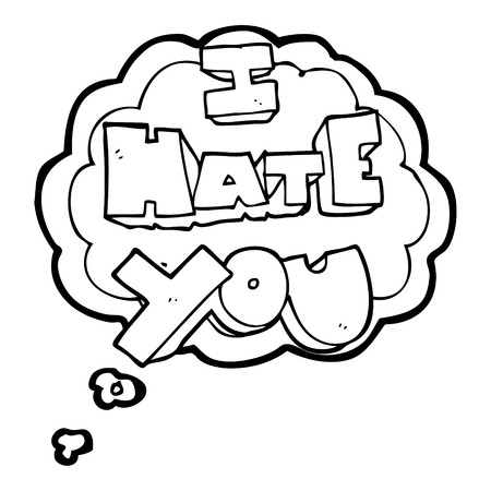 hate: I hate you freehand drawn thought bubble cartoon symbol Illustration