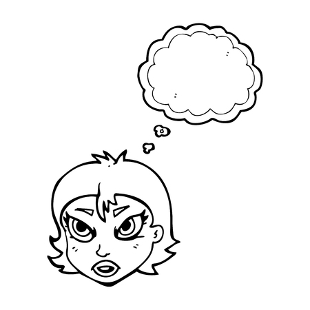 freehand drawn thought bubble cartoon angry female face Vector Illustration