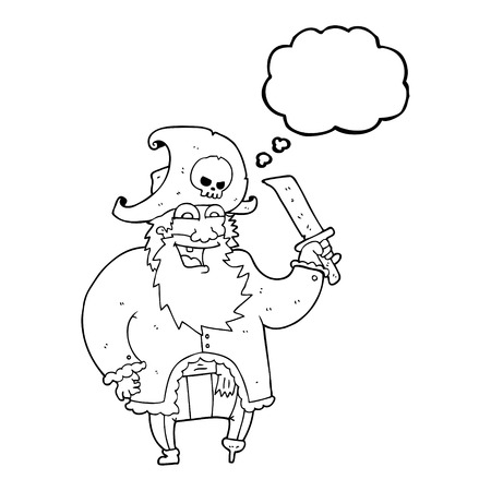pirate captain: freehand drawn thought bubble cartoon pirate captain Illustration