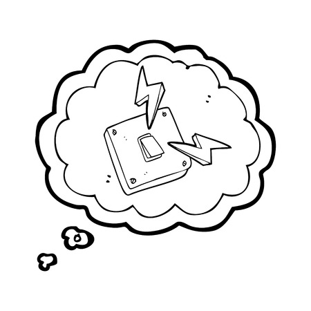 light switch: freehand drawn thought bubble cartoon sparking electric light switch