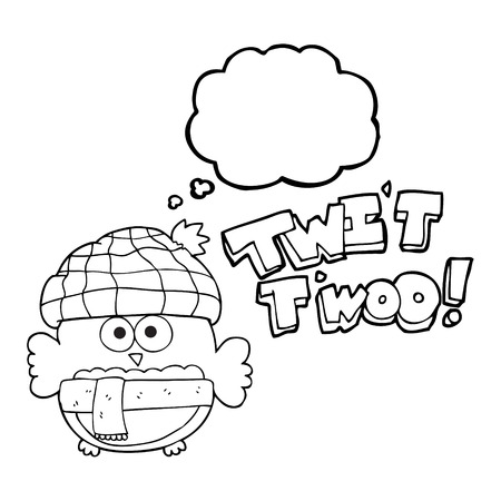 twit: freehand drawn thought bubble cartoon cute owl saying twit twoo