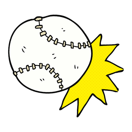 baseball cartoon: freehand drawn cartoon baseball ball