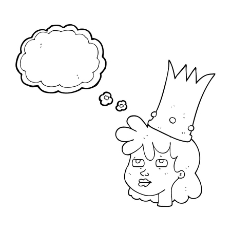 sleepy woman: freehand drawn thought bubble cartoon queen with crown