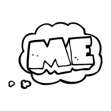 free me: freehand drawn thought bubble cartoon ME symbol Illustration
