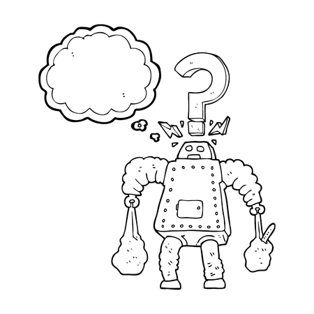 carrying: freehand drawn thought bubble cartoon confused robot carrying shopping