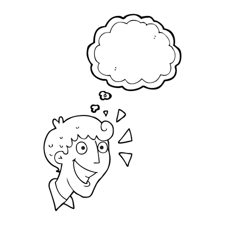 realize: freehand drawn thought bubble cartoon excited man