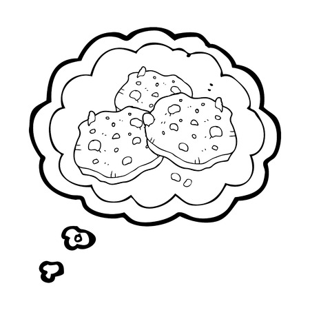 chocolate cookie: freehand drawn thought bubble cartoon chocolate chip cookies Illustration