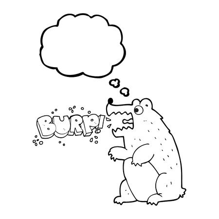 burping: freehand drawn thought bubble cartoon bear
