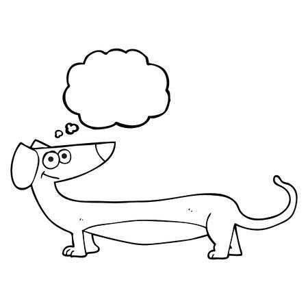 dachshund: freehand drawn thought bubble cartoon dachshund