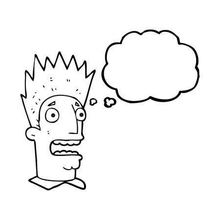 shocked man: freehand drawn thought bubble cartoon shocked man Illustration