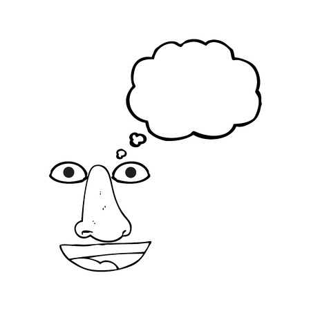 features: freehand drawn thought bubble cartoon facial features Illustration