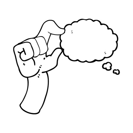 smallness: freehand drawn thought bubble cartoon hand making smallness gesture
