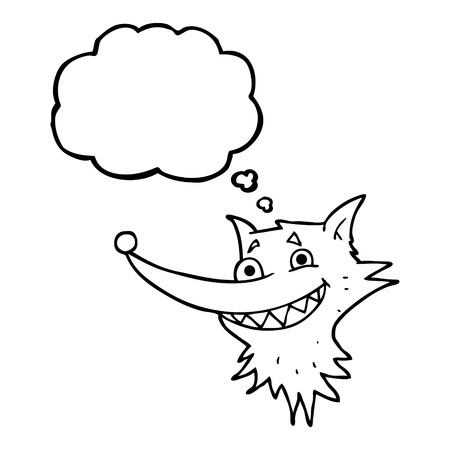 grinning: freehand drawn thought bubble cartoon grinning wolf face Illustration