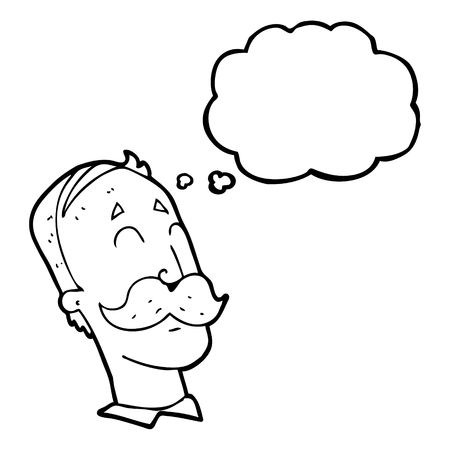 ageing: freehand drawn thought bubble cartoon ageing man with mustache