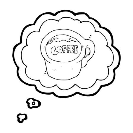 free thought: freehand drawn thought bubble cartoon coffee mug