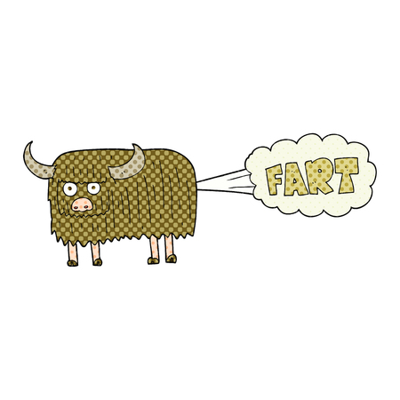 hairy: freehand drawn cartoon hairy cow farting Illustration