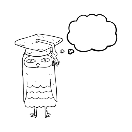 wise owl: freehand drawn thought bubble cartoon wise owl