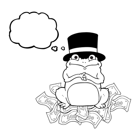 scheming: freehand drawn thought bubble cartoon rich frog in top hat