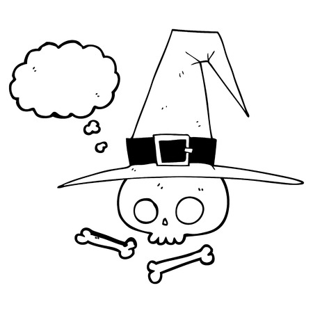 pointy hat: freehand drawn thought bubble cartoon witch hat with skull Illustration