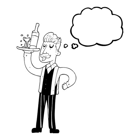 serving people: freehand drawn thought bubble cartoon waiter