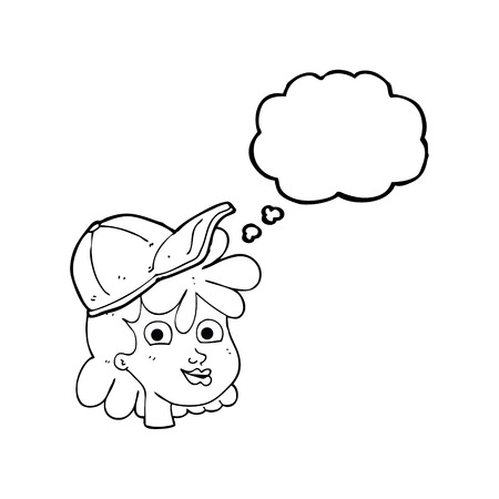 interested: freehand drawn thought bubble cartoon woman wearing cap