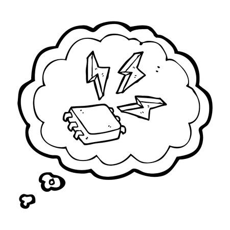 freihändig gezeichnet Gedankenblase Cartoon Computer-Chip