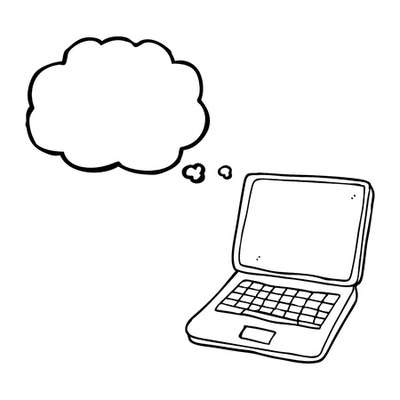 Freehand Drawn Thought Bubble Cartoon Laptop Computer With Heart