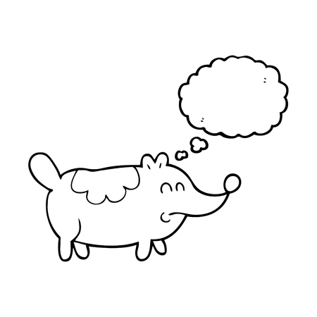 fat dog: freehand drawn thought bubble cartoon small fat dog