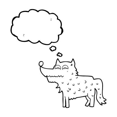 cartoon dog: freehand drawn thought bubble cartoon dog Illustration