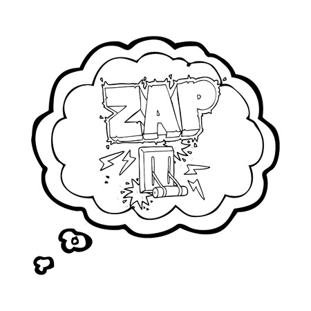 zapping: freehand drawn thought bubble cartoon electrical switch zapping