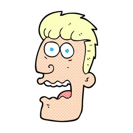 gasp: freehand drawn cartoon shocked man