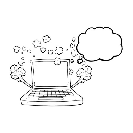 fault: freehand drawn thought bubble cartoon laptop computer fault