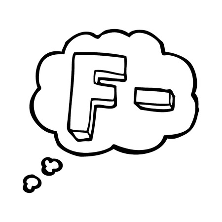 grade: freehand drawn thought bubble cartoon F grade