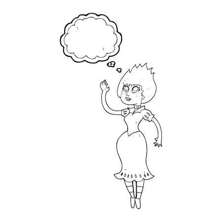 woman floating: freehand drawn thought bubble cartoon vampire girl