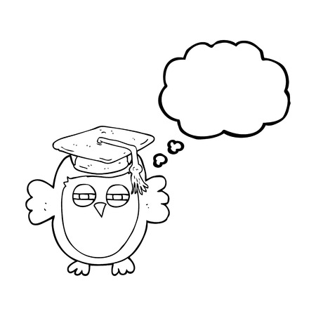 clever: freehand drawn thought bubble cartoon clever owl