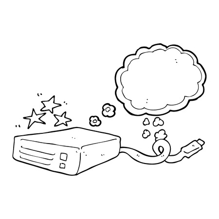 hard drive: freehand drawn thought bubble cartoon computer hard drive Illustration
