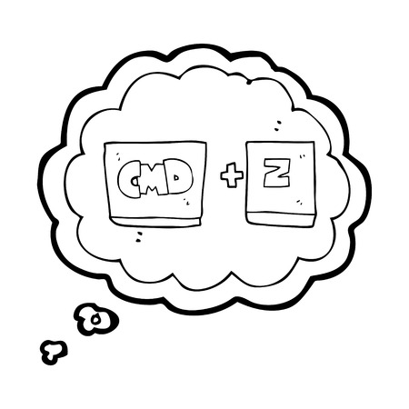 function key: freehand drawn thought bubble cartoon command Z function