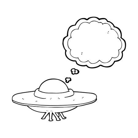 platillo volador: a mano alzada pensamiento elaborado platillo volante burbuja de dibujos animados