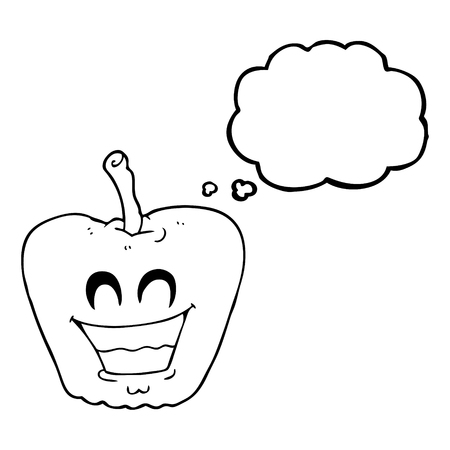 grinning: freehand drawn thought bubble cartoon grinning apple