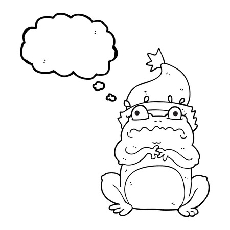 christmas frog: freehand drawn thought bubble cartoon frog in christmas hat Illustration
