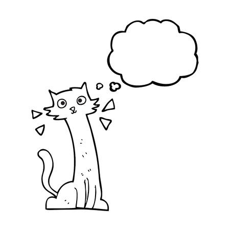 realization: freehand drawn thought bubble cartoon cat Illustration