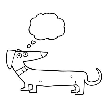 sausage dog: freehand drawn thought bubble cartoon sausage dog