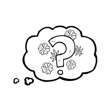 Freehand Drawn Thought Bubble Cartoon Question Mark Royalty Free