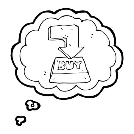 computer key: freehand drawn thought bubble cartoon computer key buy symbol