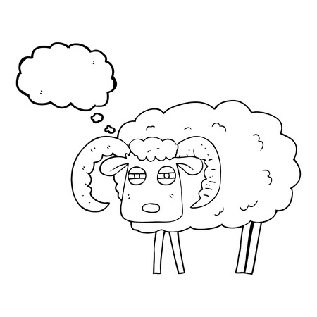 freehand drawn thought bubble cartoon ram covered in mud