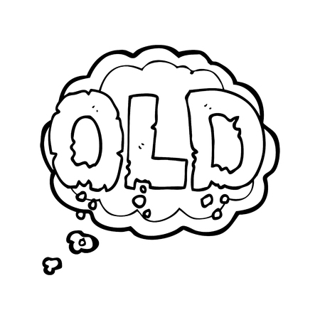crumbling: freehand drawn thought bubble cartoon word old