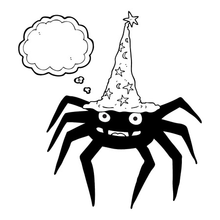 freehand drawn thought bubble cartoon halloween spider in witch hat Illustration